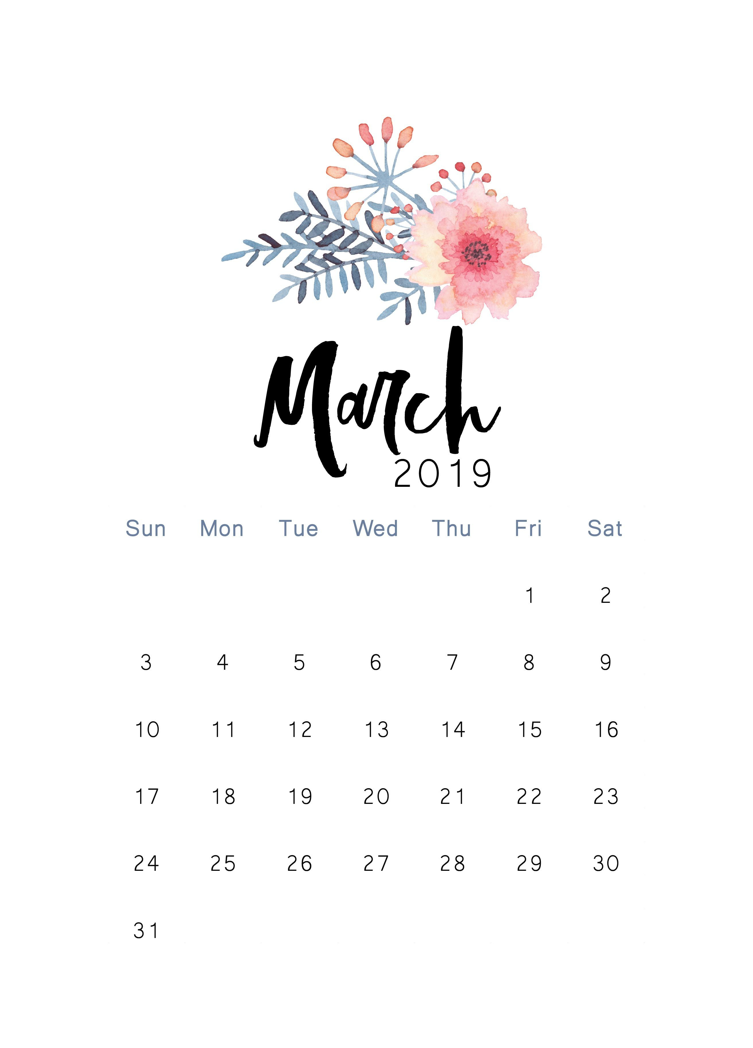 March 2019 Printable Calendar | Iphone Backgrounds | Sfondi