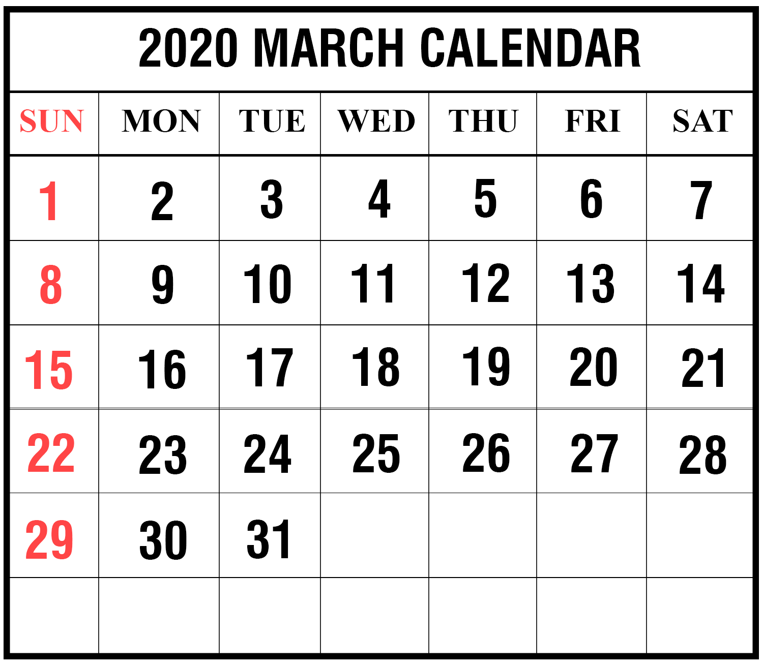 March-2020-2 | Printable Template Calendar