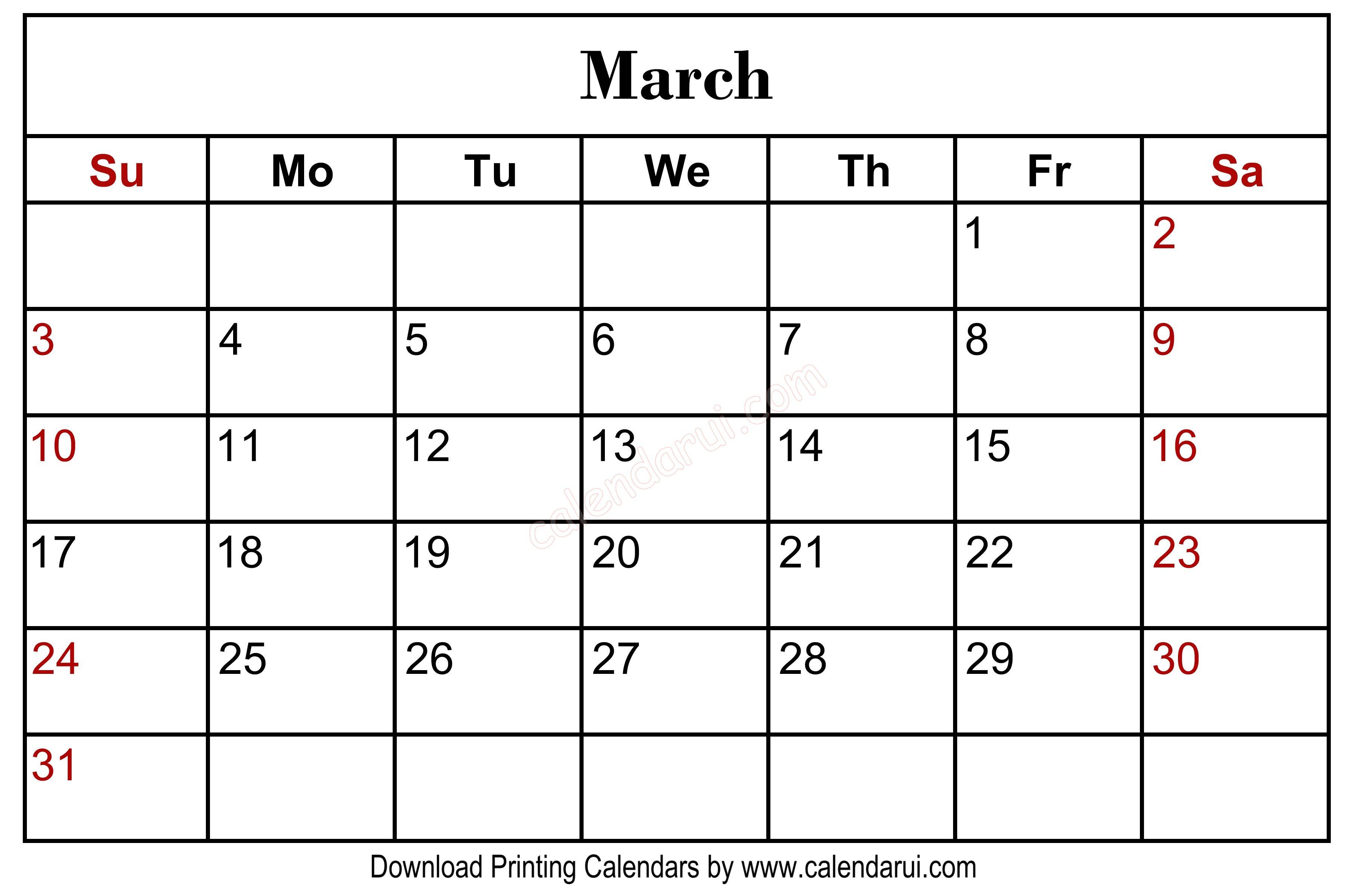 March 2020 Blank Calendar Printable Centre Header In 2019