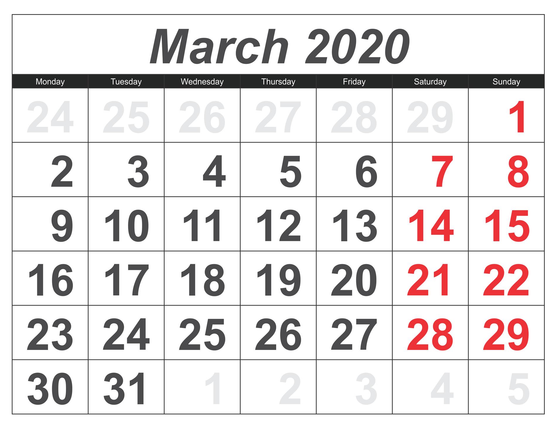March 2020 Calendar Canada With Public Holidays - 2019