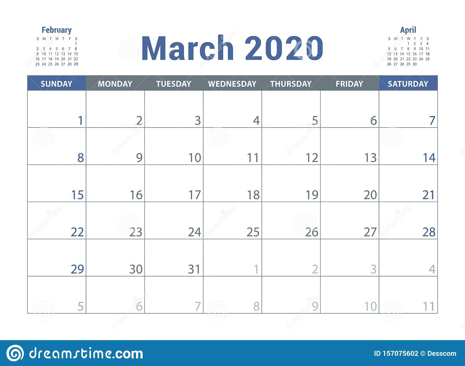 March 2020 Calendar. English Planner. Сolor Vector Template