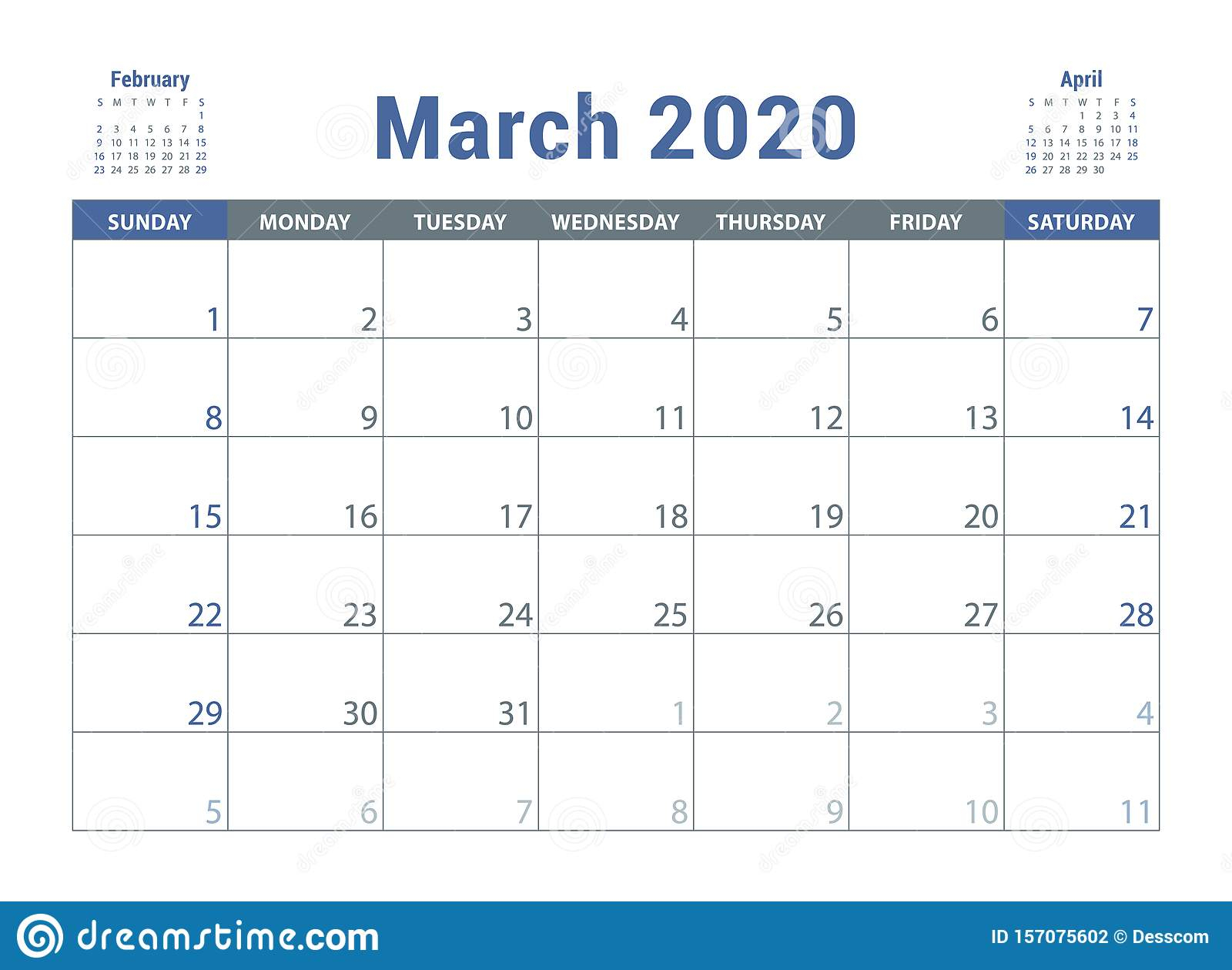 March 2020 Calendar. English Planner. Сolor Vector Template