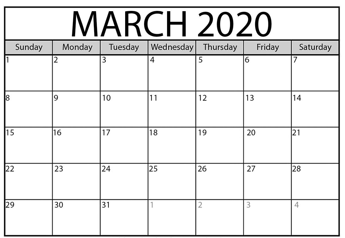 March 2020 Calendar | Monthly Calendar Template, March Month