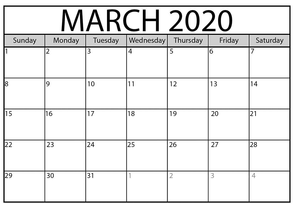 March 2020 Calendar | Monthly Calendar Template, March Month
