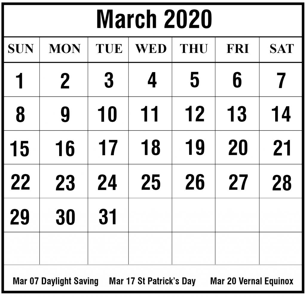 March 2020 Calendar | Printable March Calendar Template
