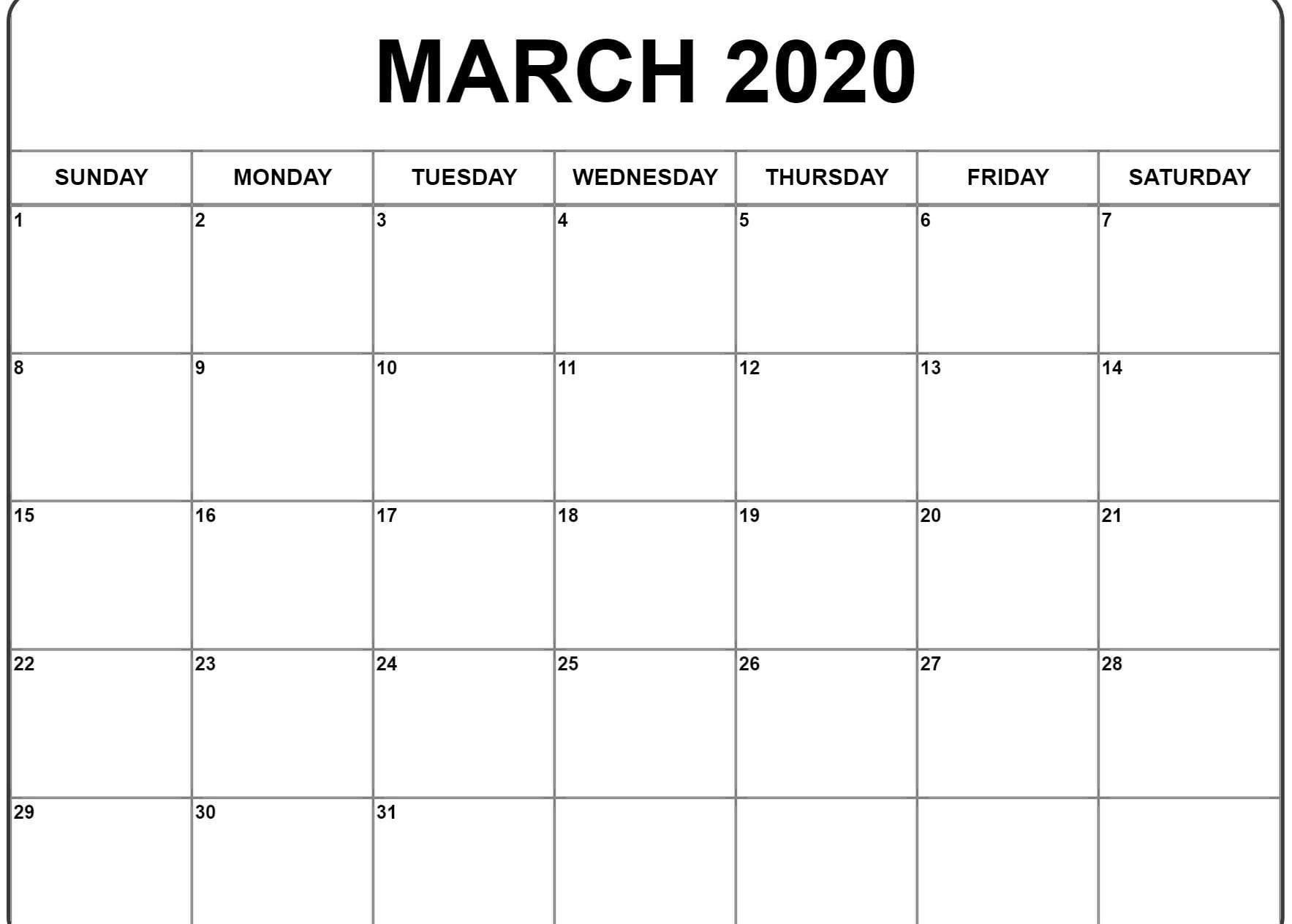 March 2020 Calendar Printable | Printable Calendar Template