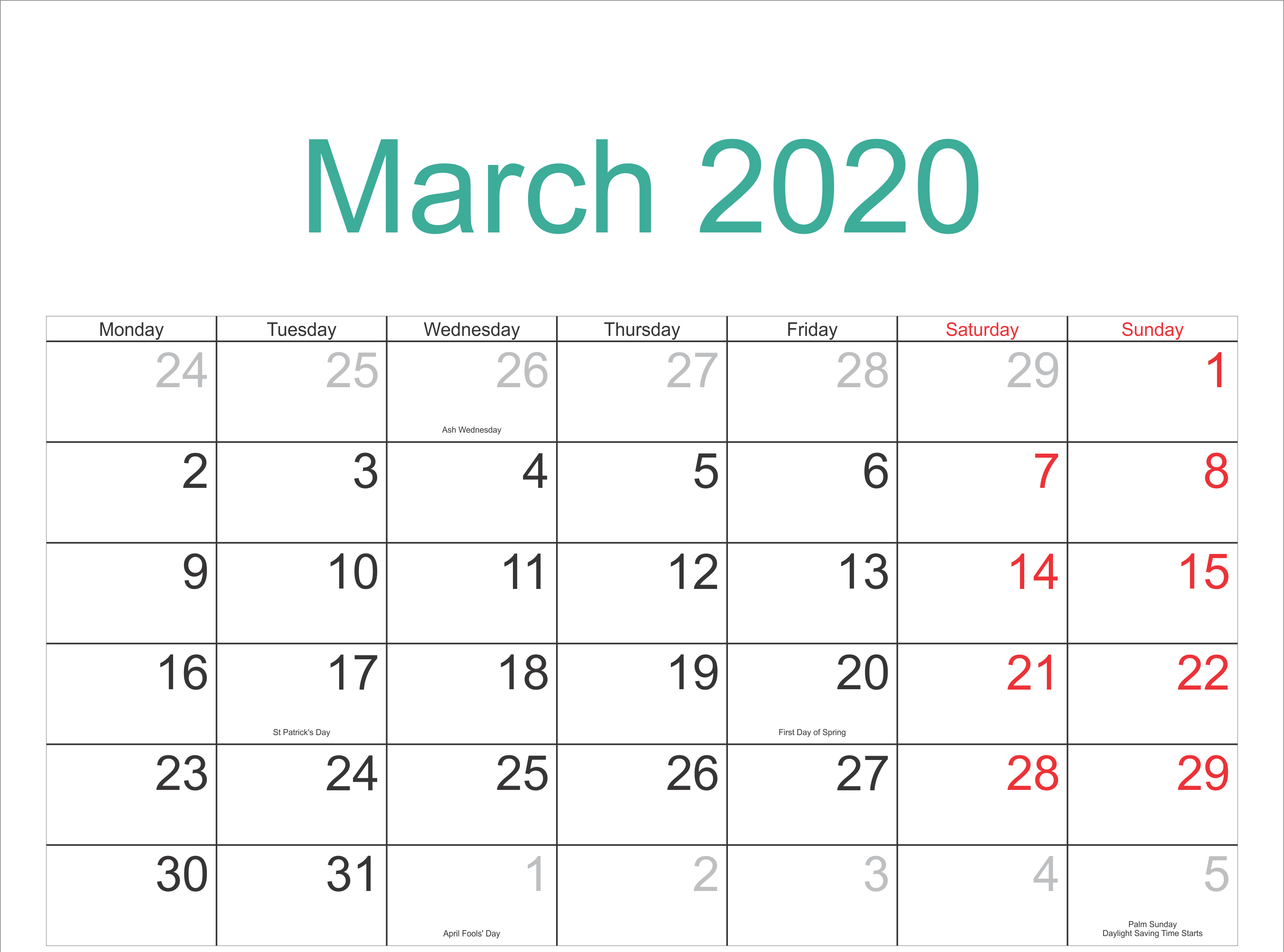 March 2020 Calendar Printable With Holidays | Free Printable