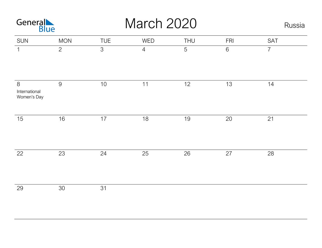 March 2020 Calendar - Russia