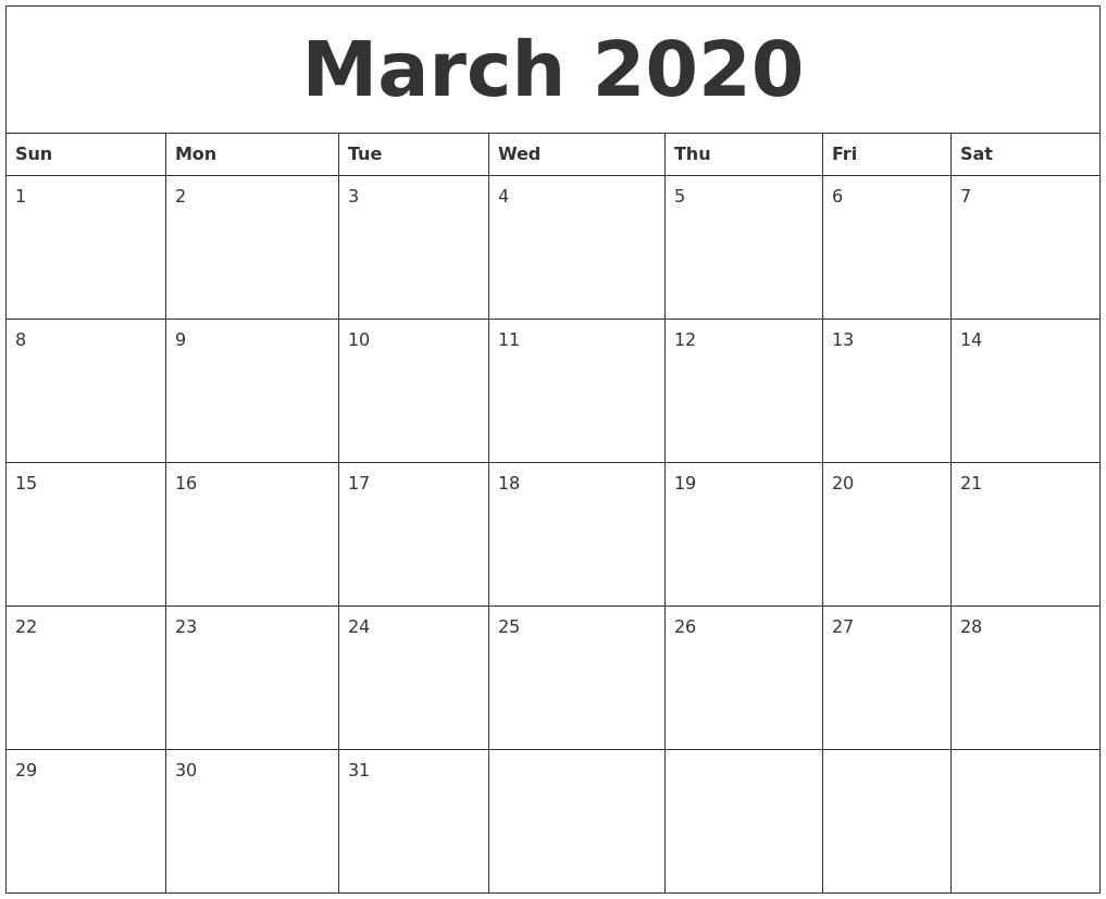 March 2020 Free Online Calendar