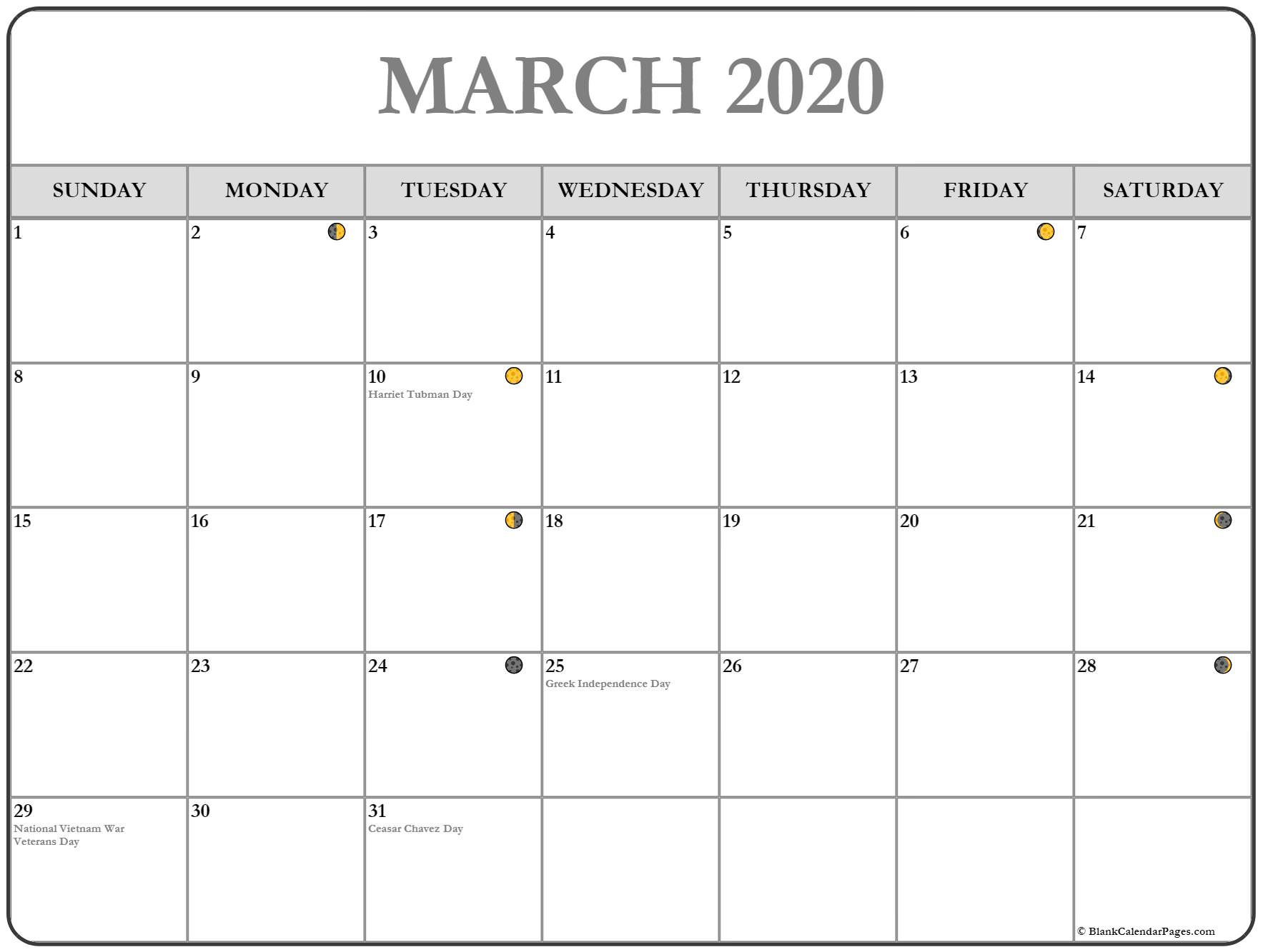 March 2020 Lunar Calendar | Moon Phase Calendar