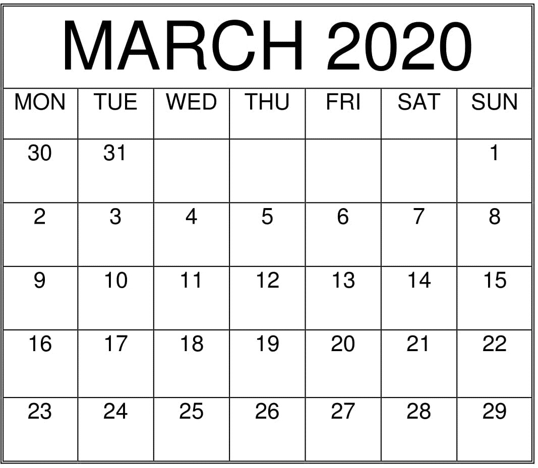 March 2020 Printable Calendar Free Download – Free Latest