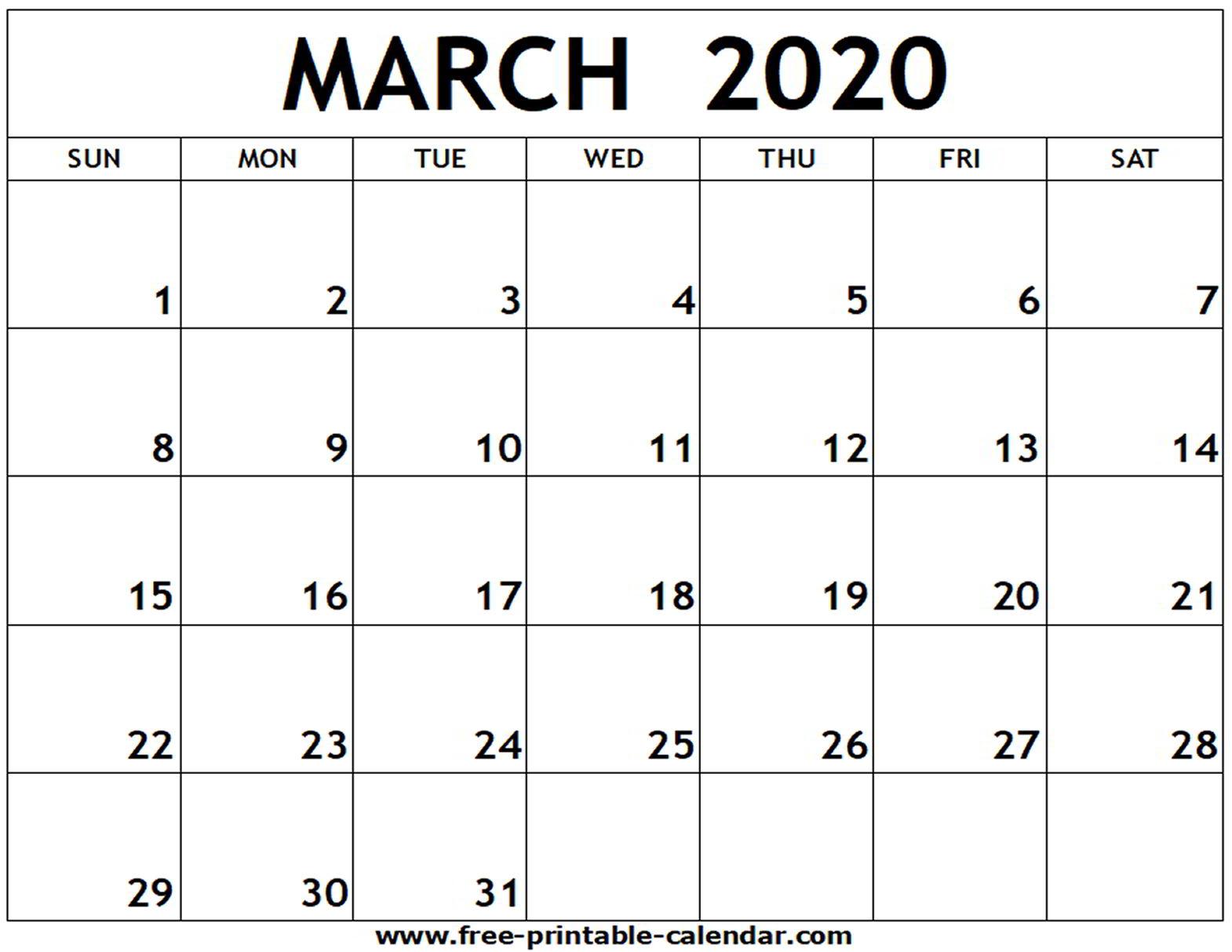 March 2020 Printable Calendar - Free-Printable-Calendar