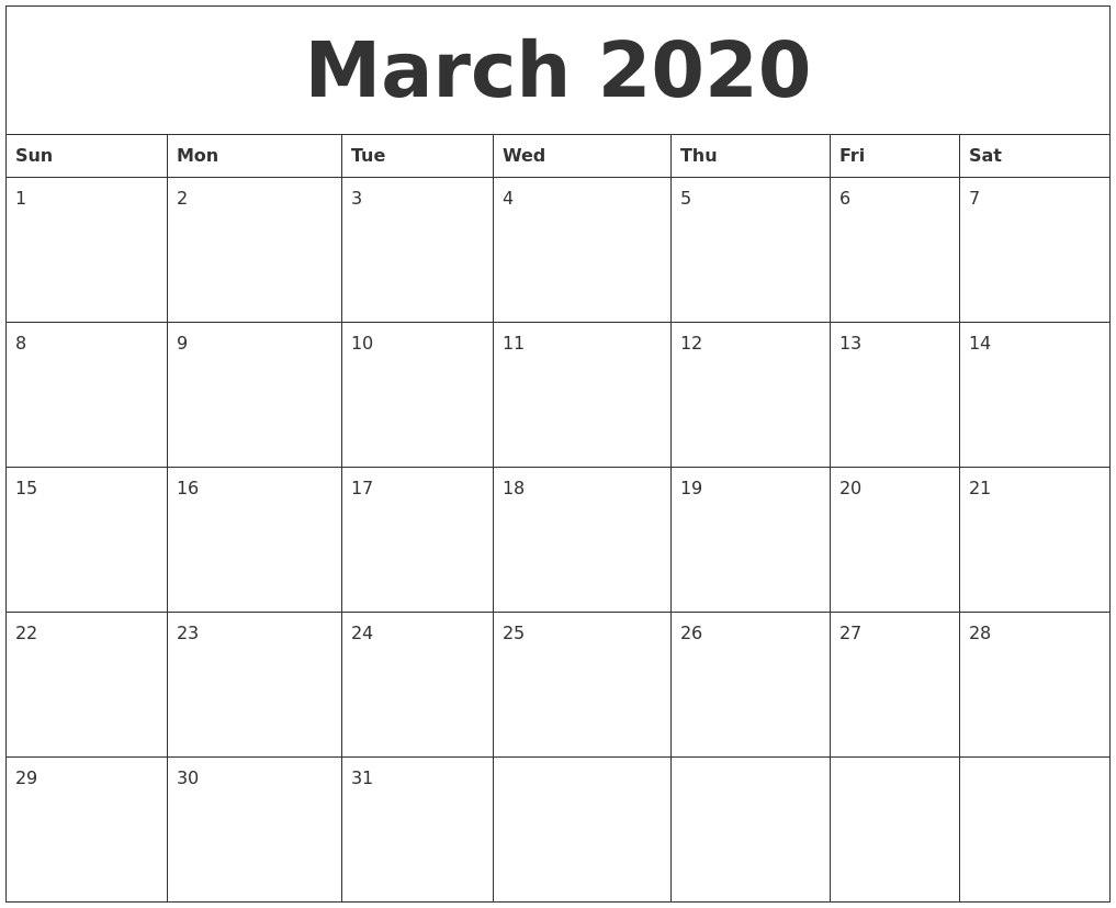 March 2020 Weekly Calendar - Wpa.wpart.co