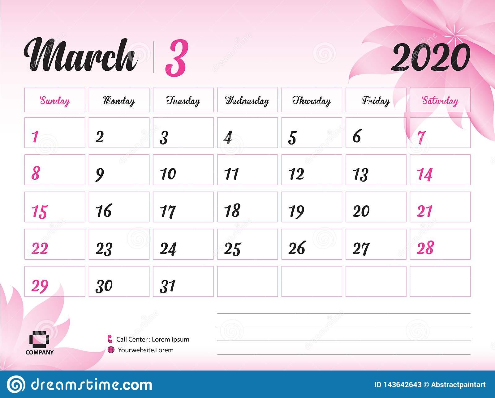 March 2020 Year Template, Calendar 2020 Vector, Desk
