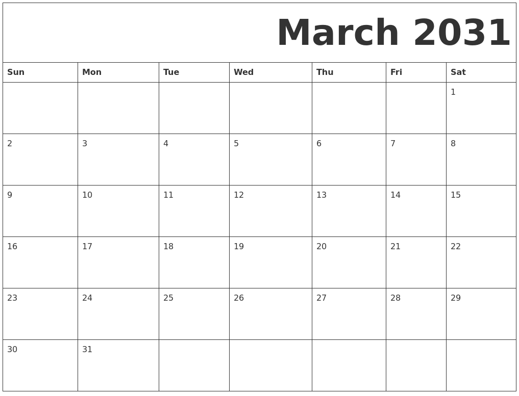 March 2031 Free Printable Calendar