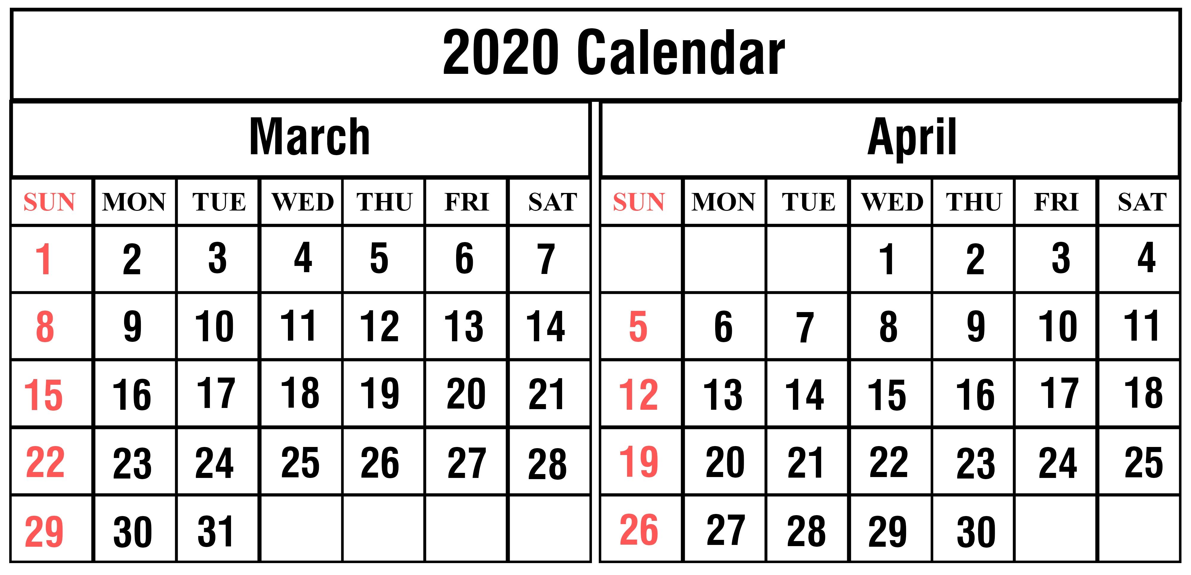 March And April 2020 Calendar | Calendar Template Information
