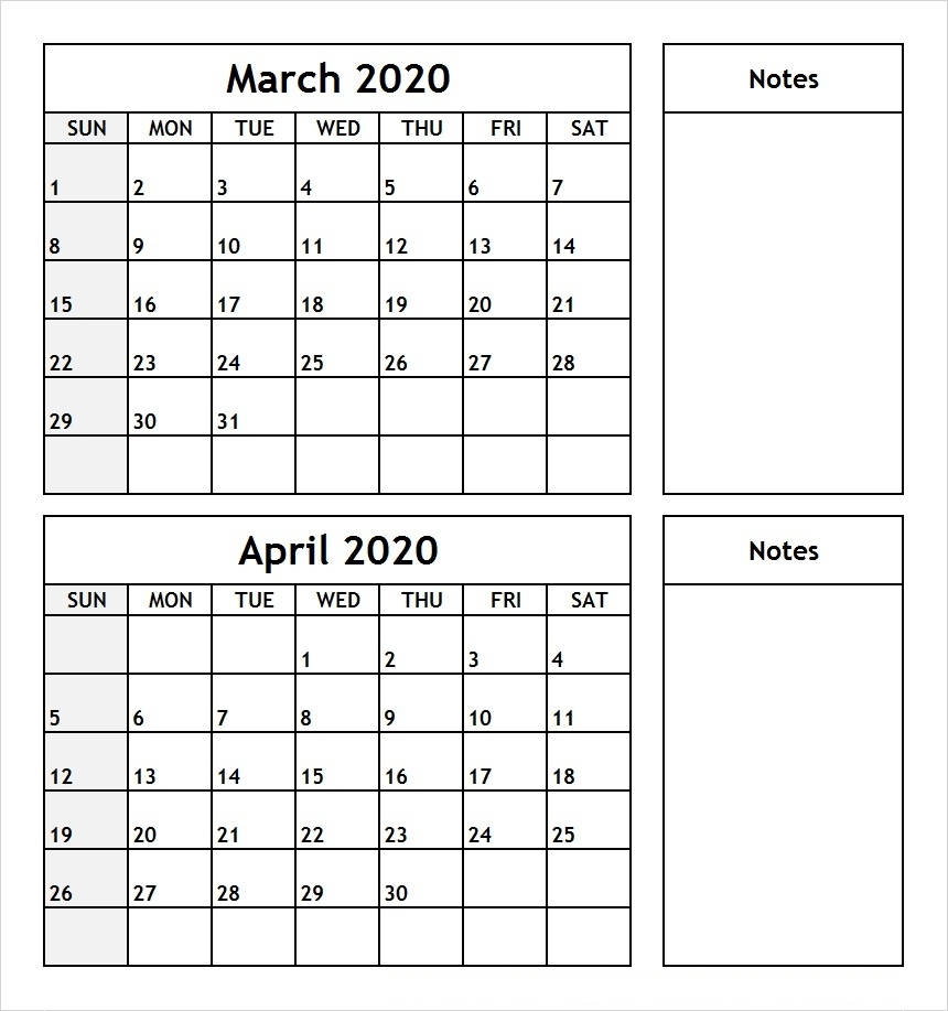March April 2020 Calendar With Holidays | 12 Month Printable