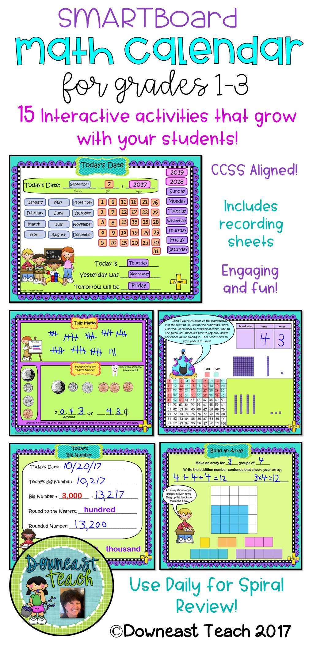 Math Calendar/calendar Math For Smartboard: Grades 1-3