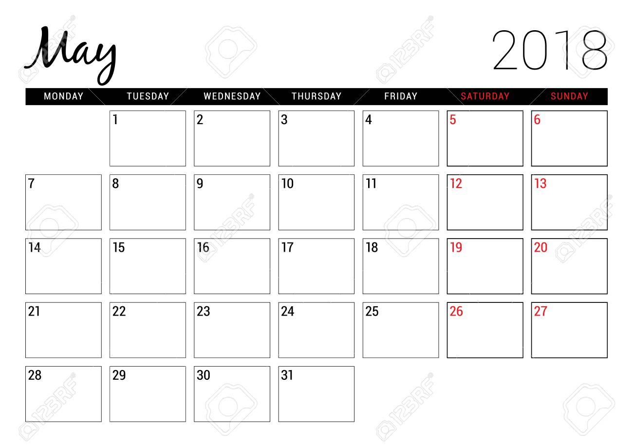 May 2018. Printable Calendar Planner Design Template. Week Starts..