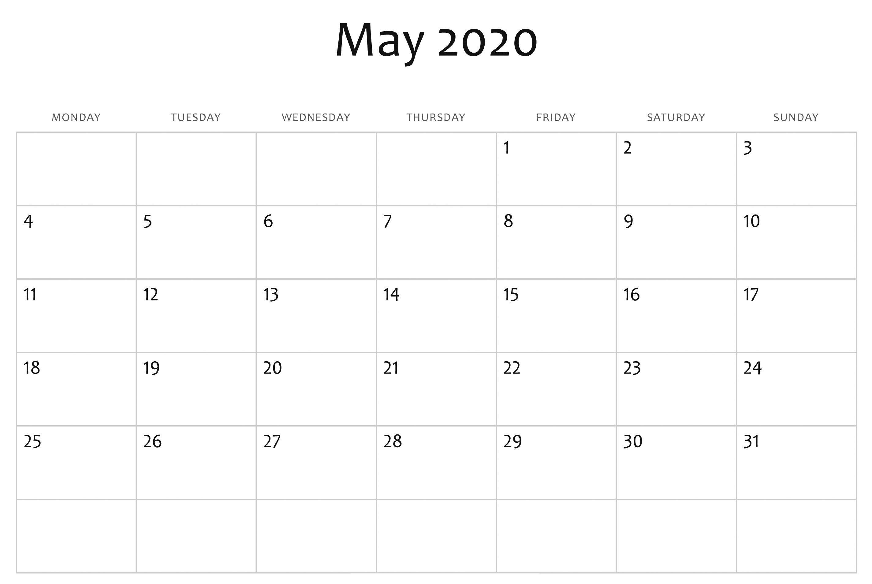 May 2020 Calendar Blank Template | May Calendar Printable