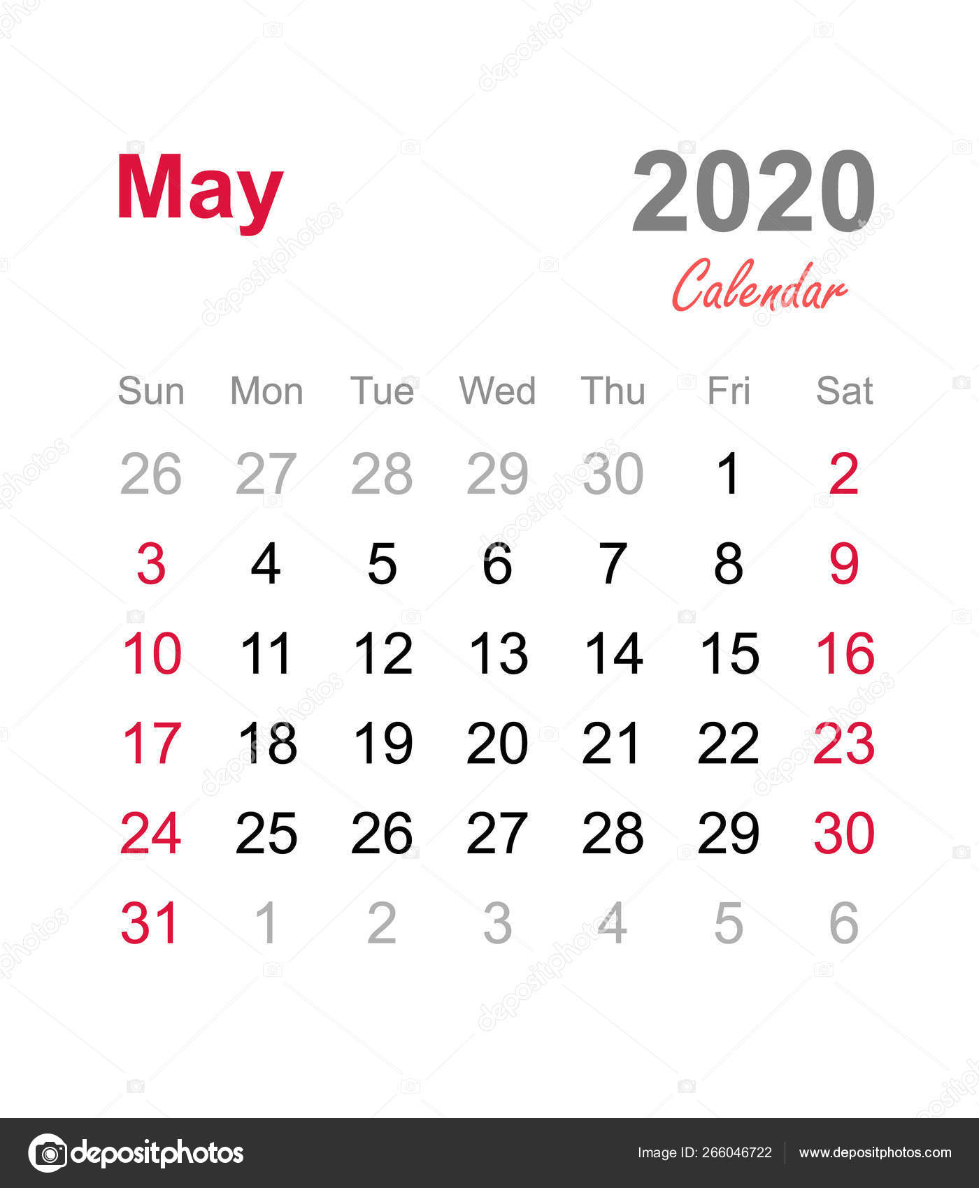 May 2020 Calendar Monthly Calendar Template 2020 Monthly