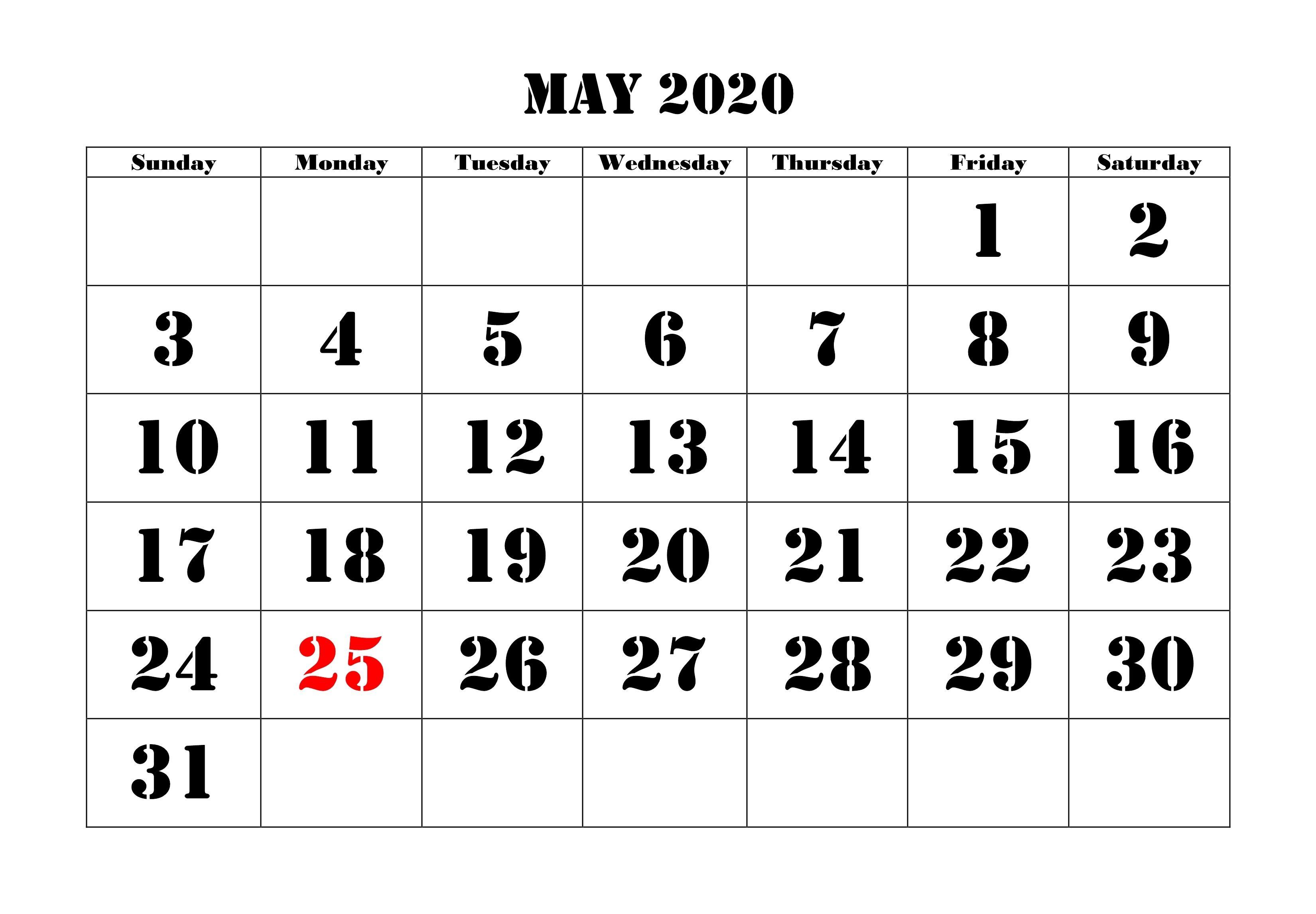 May 2020 Calendar Printable | Calendar, Calendar Pages