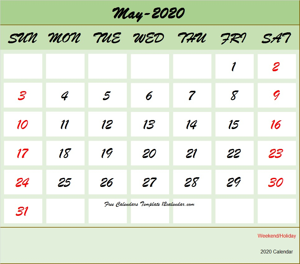May 2020 Calendar Printable With Holidays United States
