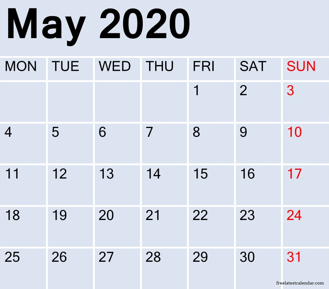 May 2020 Calendar Template Word, Excel And Pdf – Free Latest