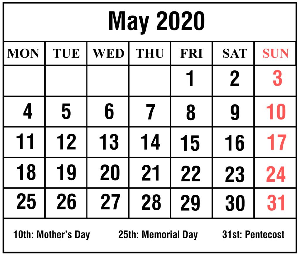 May 2020 Calendar With Holidays #may #may2020