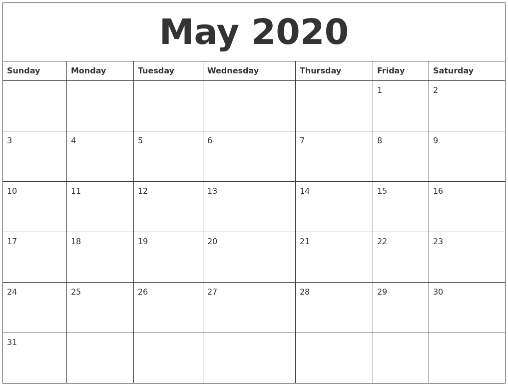 May 2020 Print Out Calendar