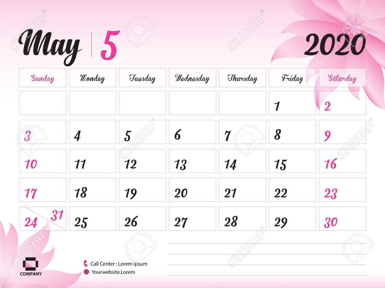 May 2020 Year Template, Calendar 2020, Desk Calendar Design,..