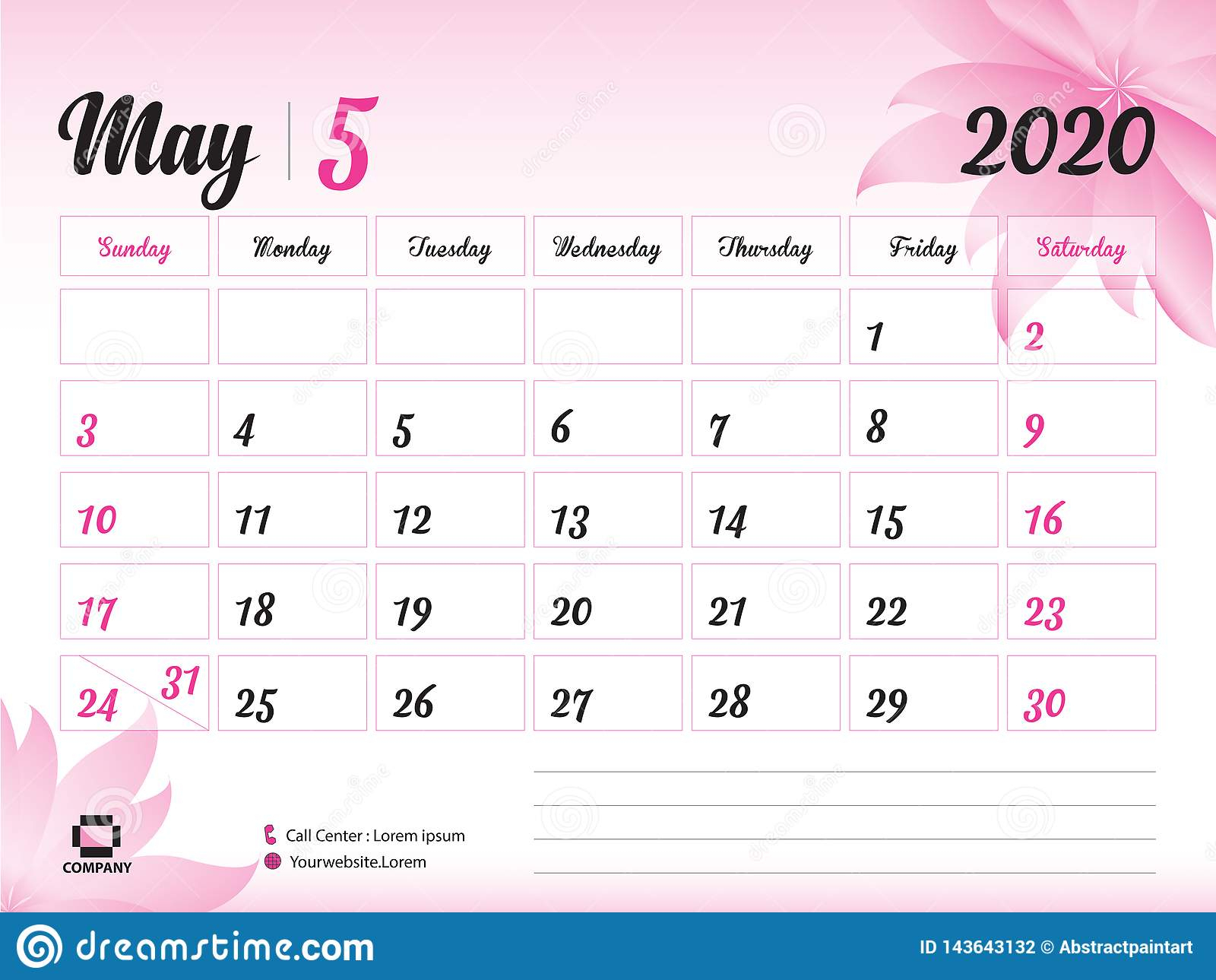 May 2020 Year Template, Calendar 2020 Vector, Desk Calendar