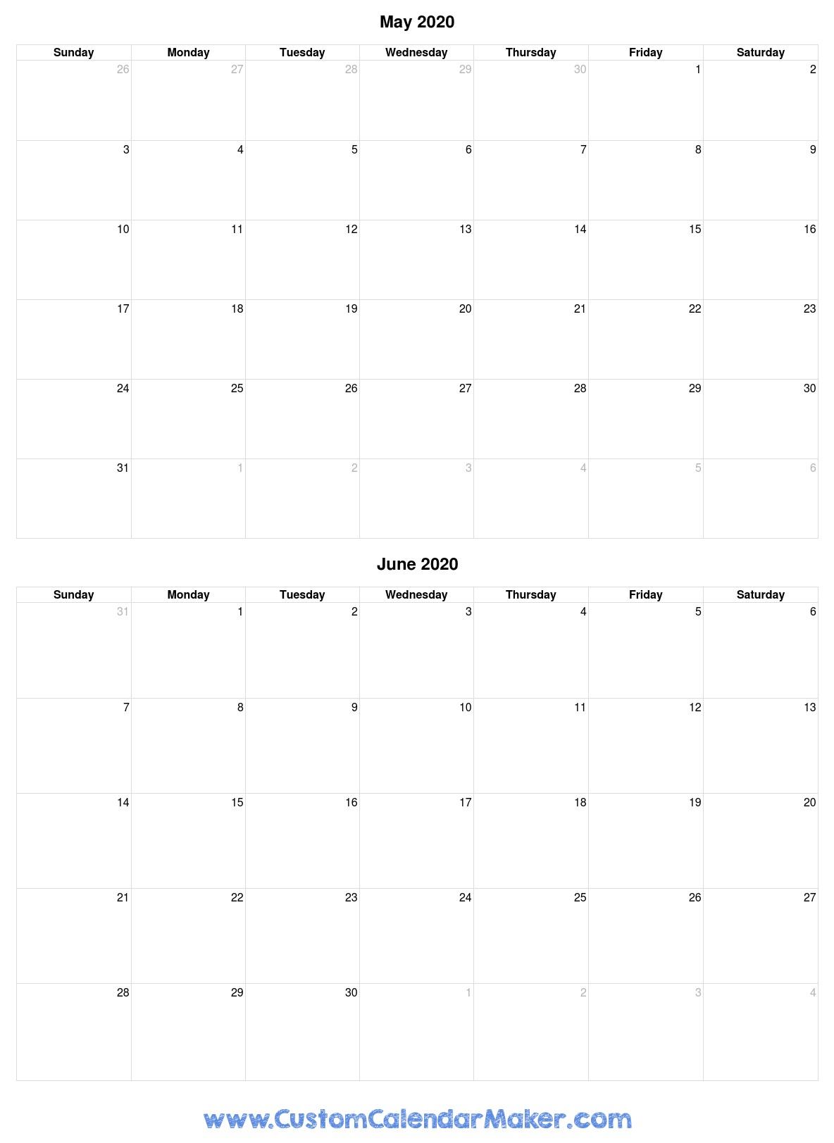 May And June 2020 Free Printable Calendar Template