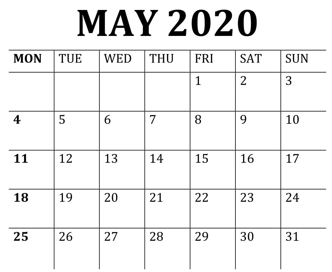 May Calendar 2020 Free Download – Free Latest Calendar