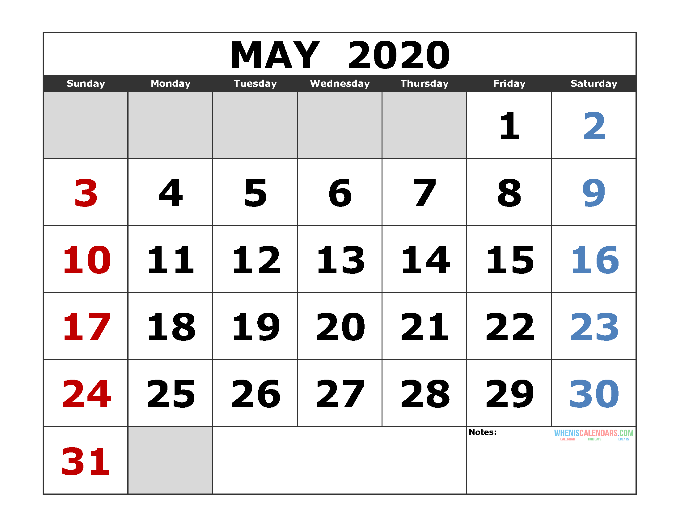May Month Calendar 2020 - Wpa.wpart.co