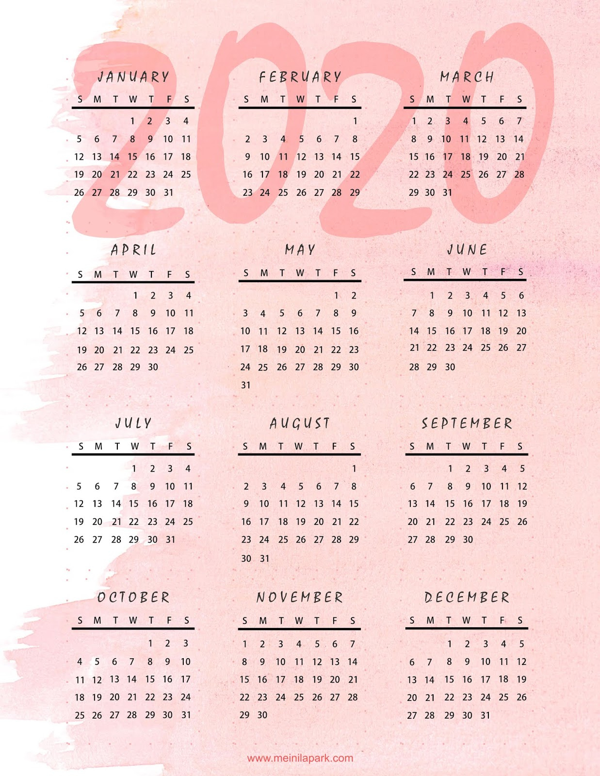 Meinlilapark: Thinking Ahead: Printable 2020 Calendar In