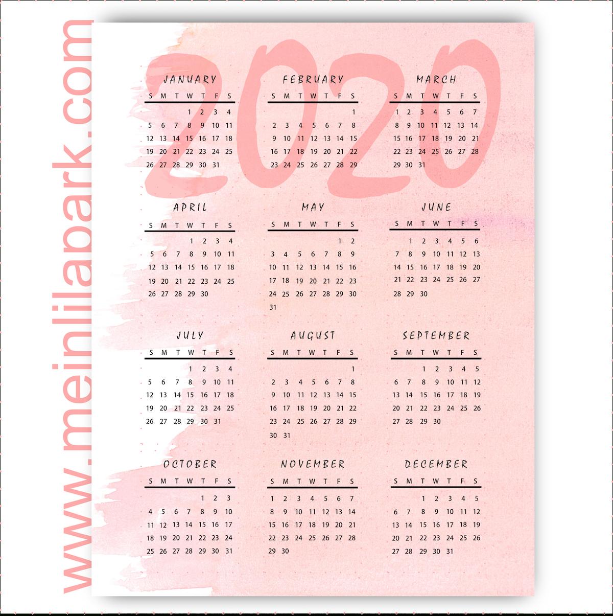 Meinlilapark: Thinking Ahead: Printable 2020 Calendar In