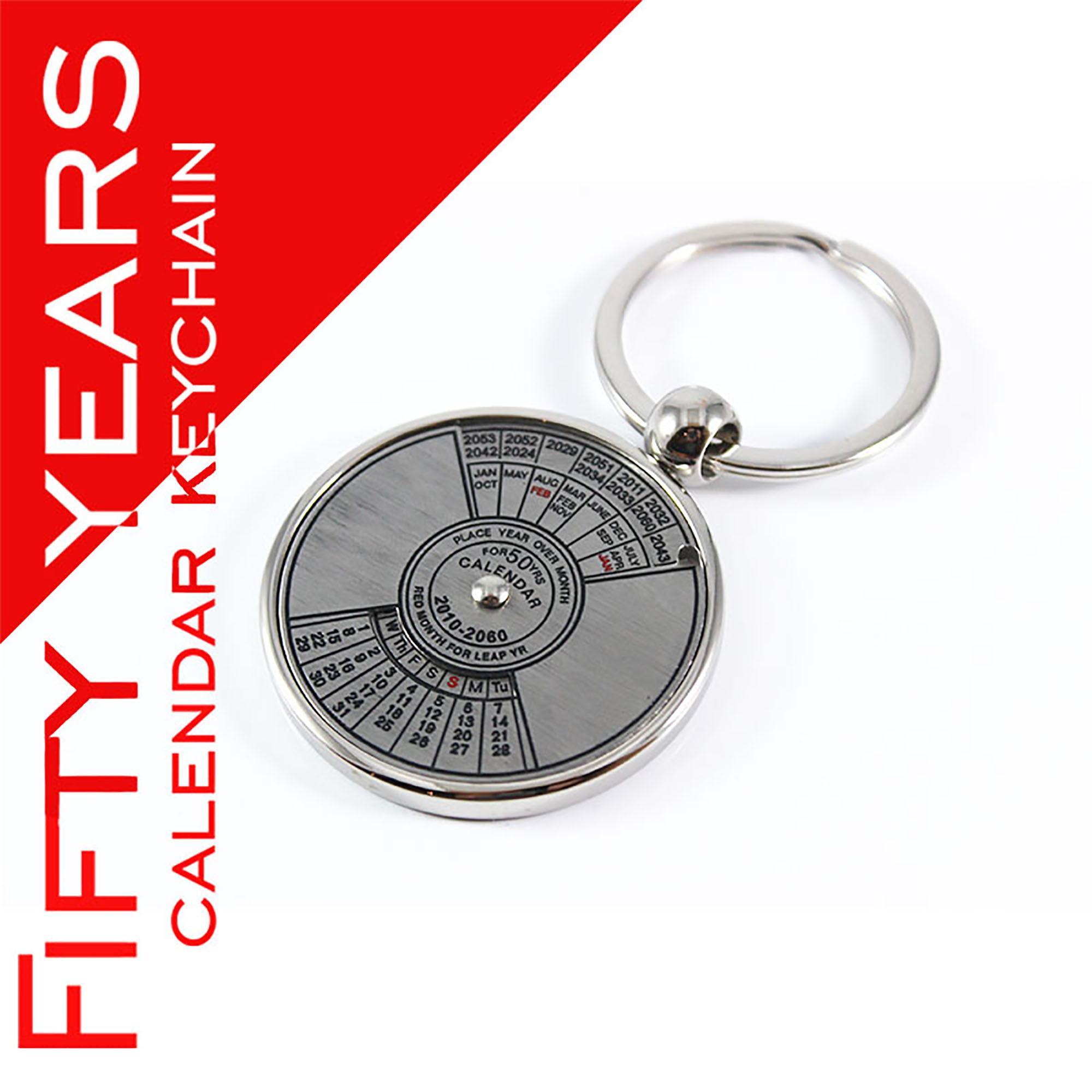 Metal Keyring Mini Perpetual Calendar Keychain For 50 Years Calendar  Keychains