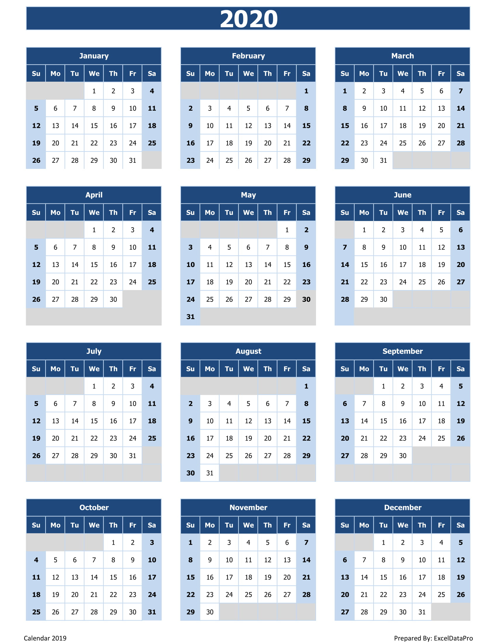 Microsoft Excel Calendar 2020 - Wpa.wpart.co