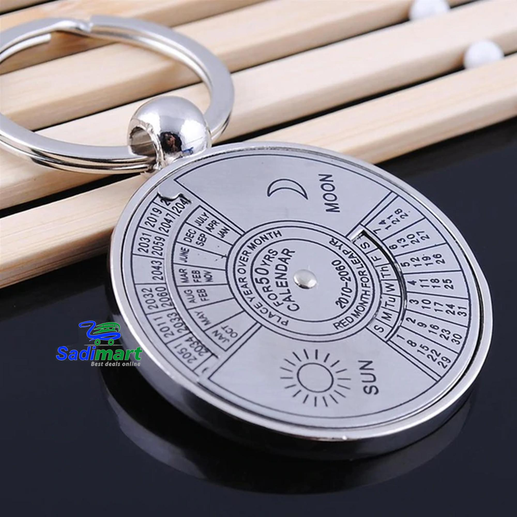 Mini 50 Years Perpetual Calendar Keychain Ring Unique Metal Keyring Car  Motorcycle Personalized Keychain