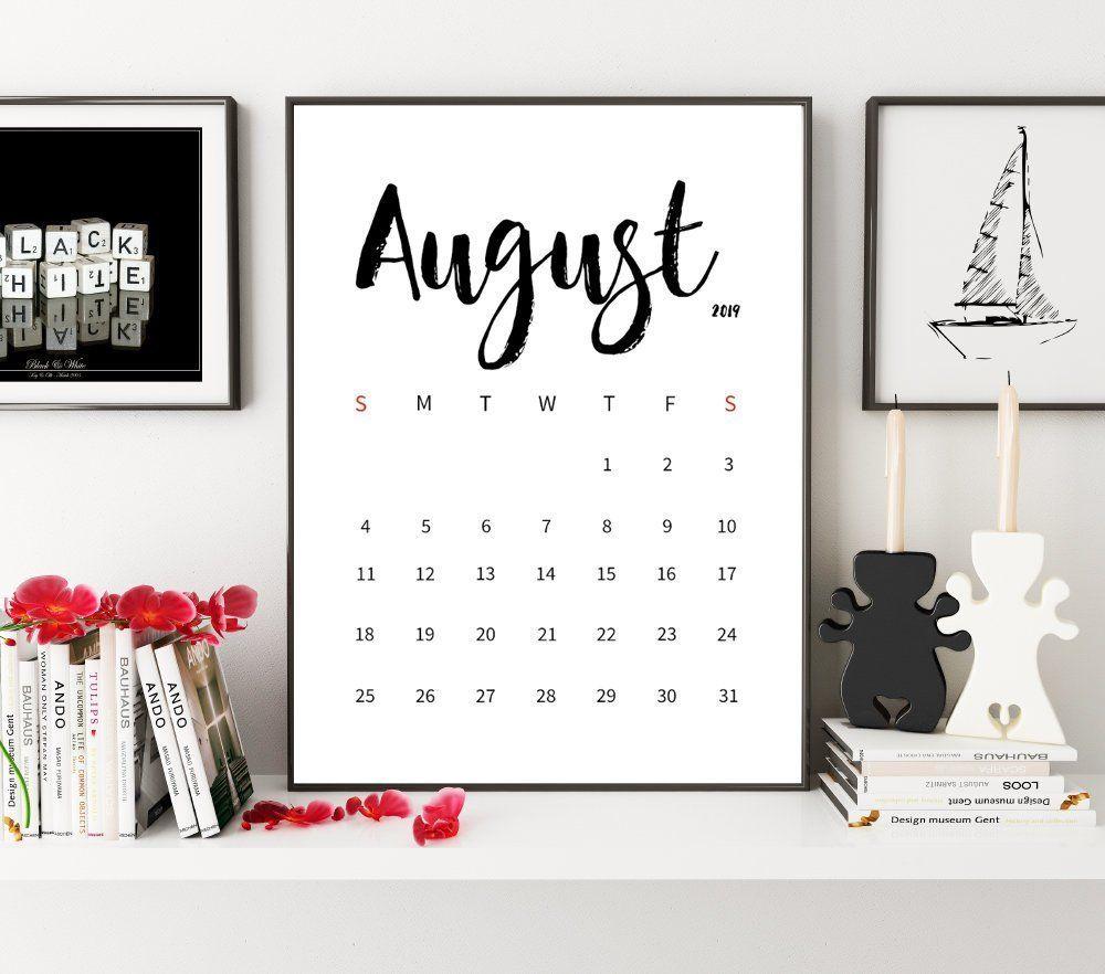 Minimalistic Calendar 2019, August 2019 Calendar, Monthly