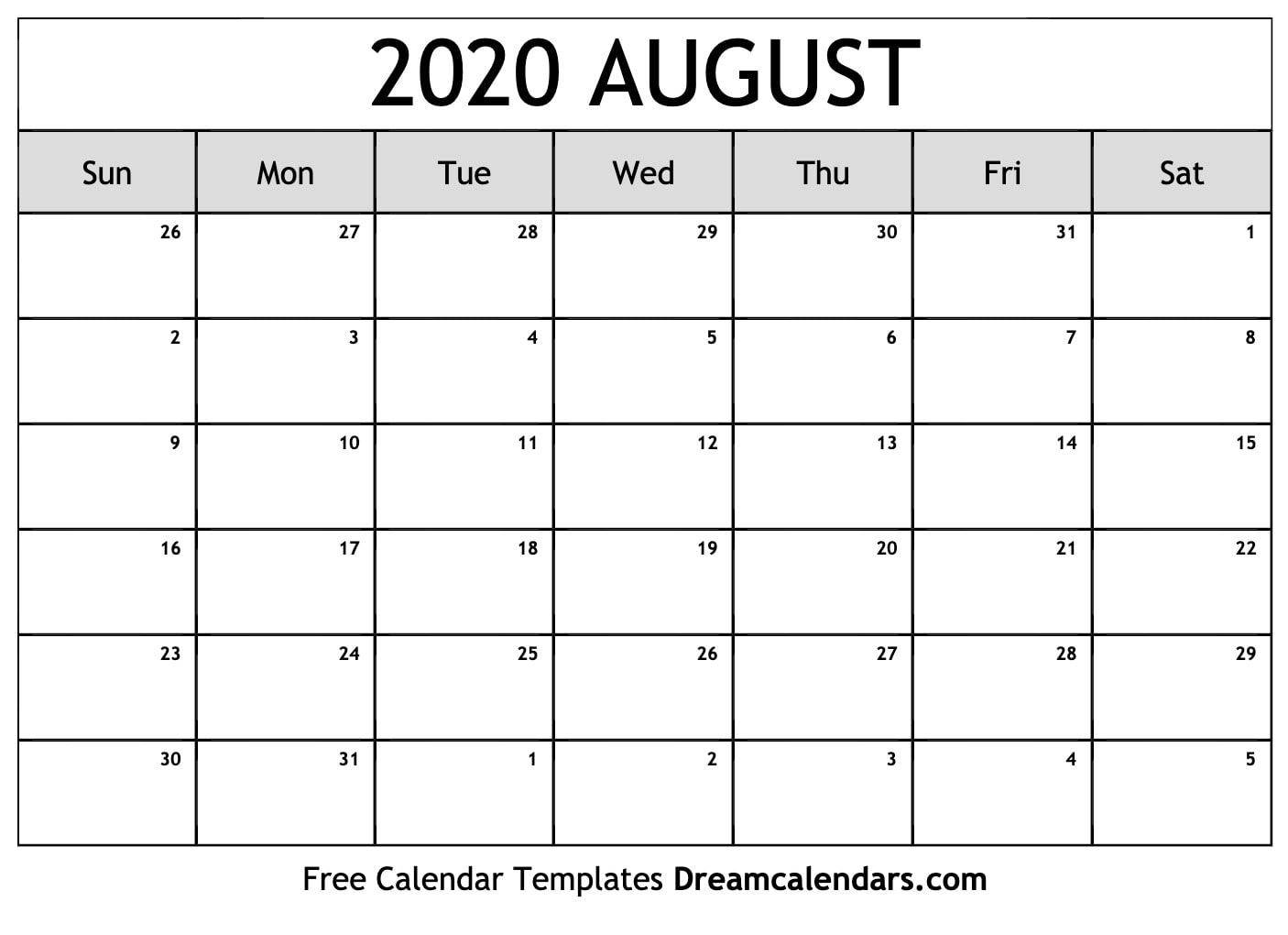 Mix · Free Blank August 2020 Printable Calendar