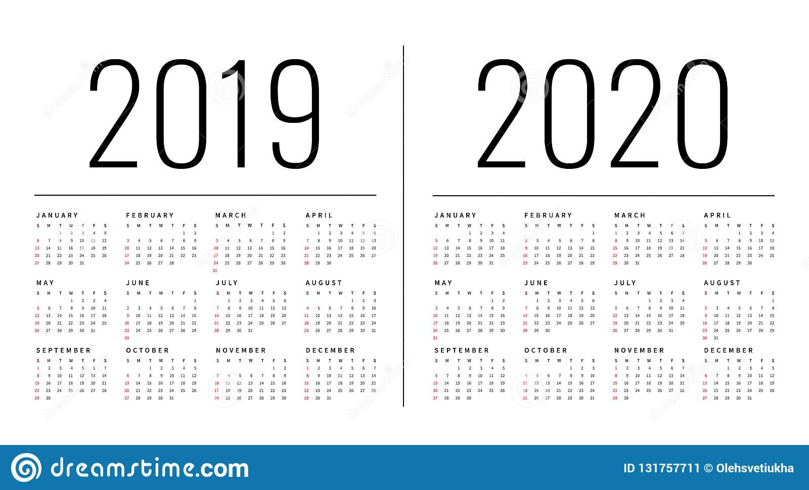 Mockup Simple Calendar Layout For 2019 And 2020 Years. Week