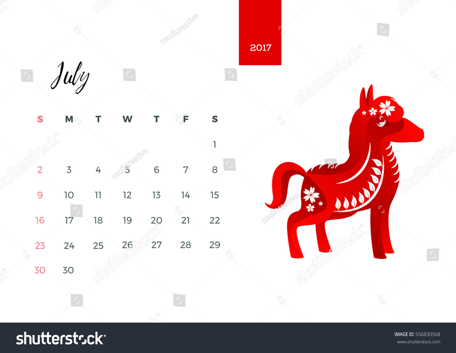 Modern Animals Chinese Zodiac 2017 Monthly Stock Vector