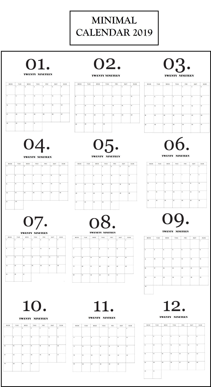 Modern Minimal 2019 Calendar | Wall Calendar Design, Minimal