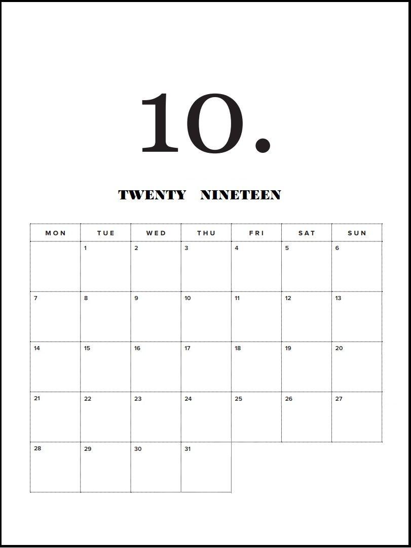 Modern Minimal 2019 Monthly Calendar | Calendar 2019