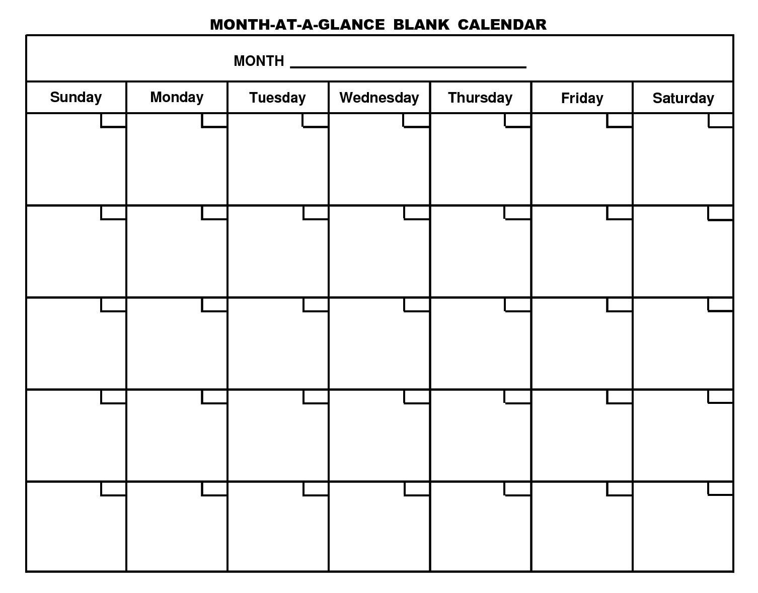 Month At A Glance Template - Wpa.wpart.co