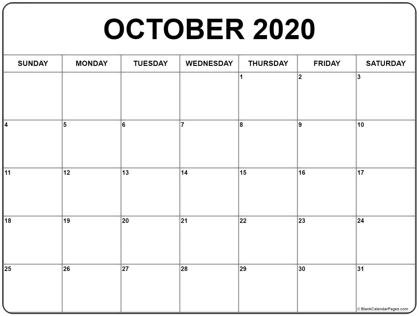 Month Of October 2020 Calendar - Teke.wpart.co