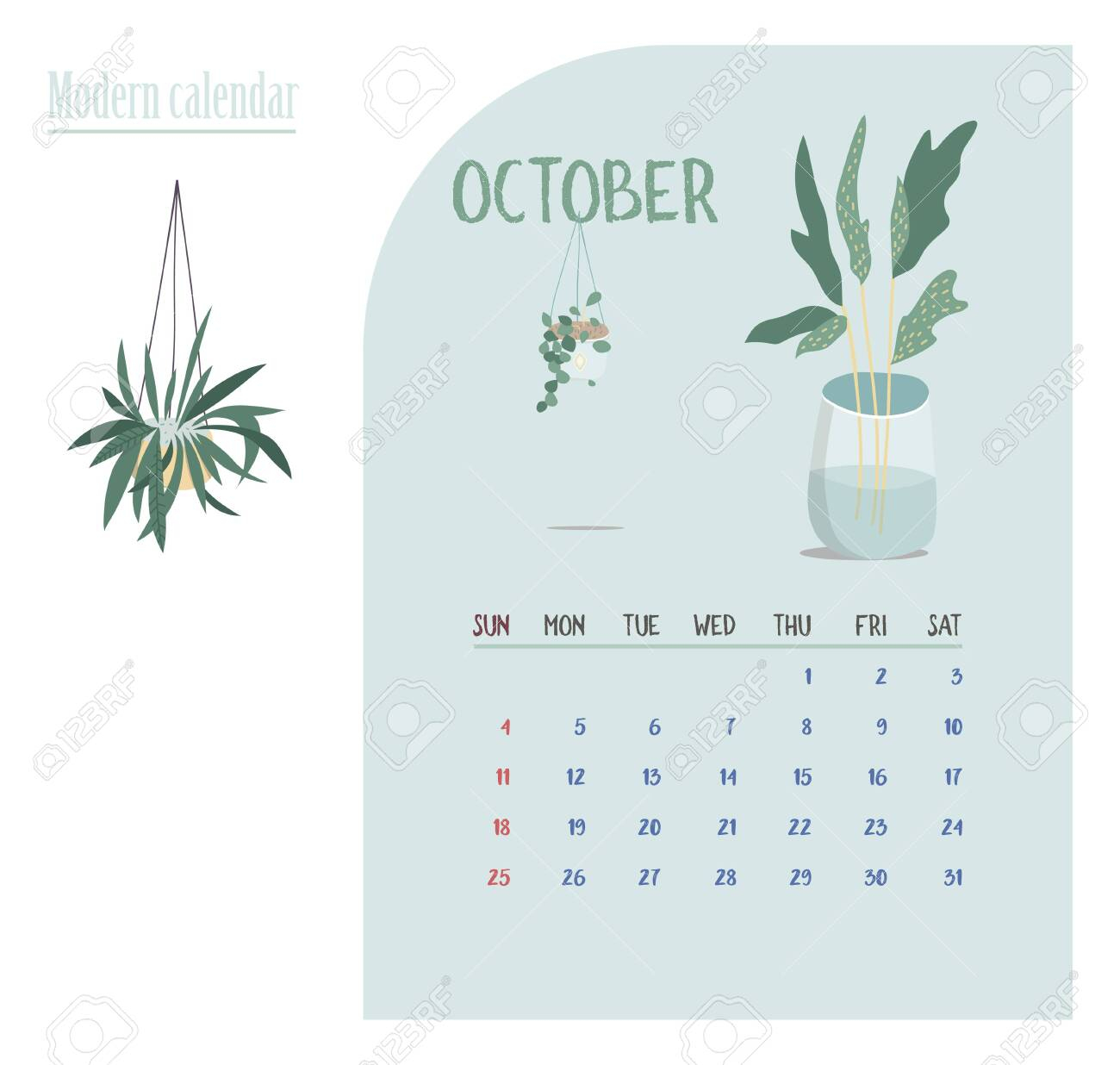 Monthly Calendar 2020. Cute Printable Creative Template With..