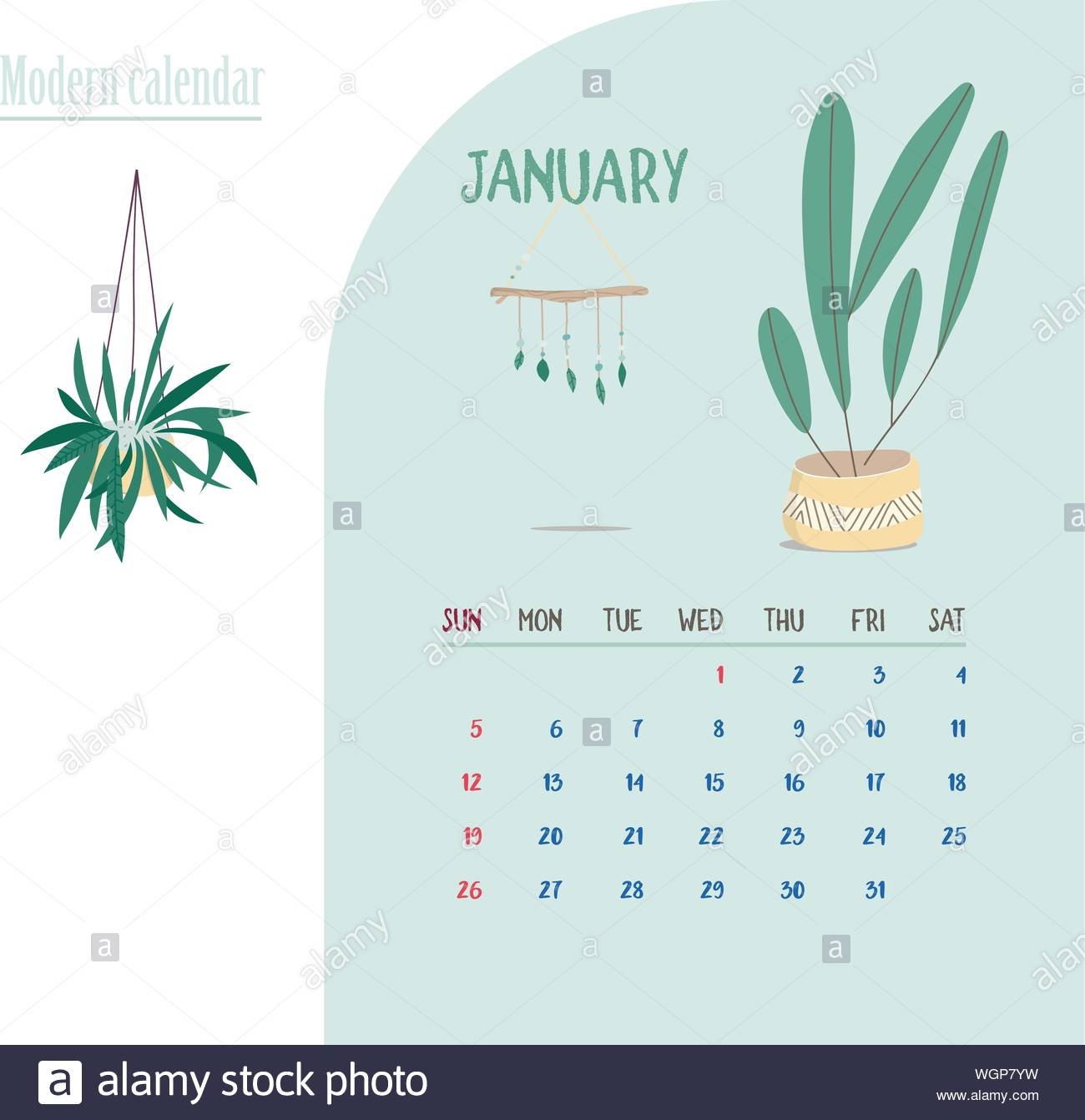 Monthly Calendar 2020. Cute Printable Creative Template With